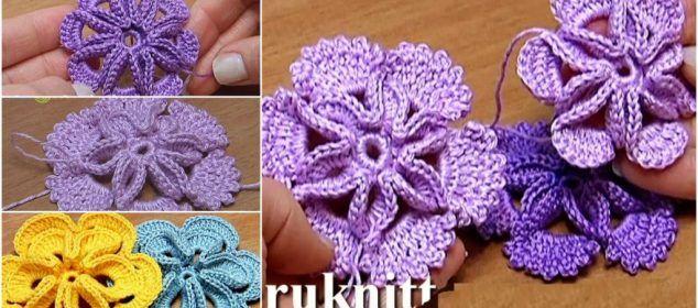Crochet 3D Center Flower