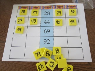 Here's a set of boards for finding 1 more/1 less and 10 more/10 less than a number.