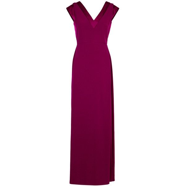 Paule Ka Burgundy Satin And Crepe Gown - Size 10 (26,265 MXN) ❤ liked on Polyvore featuring dresses, gowns, burgundy evening gown, purple evening gowns, purple satin dress, crepe dress and burgundy evening dress