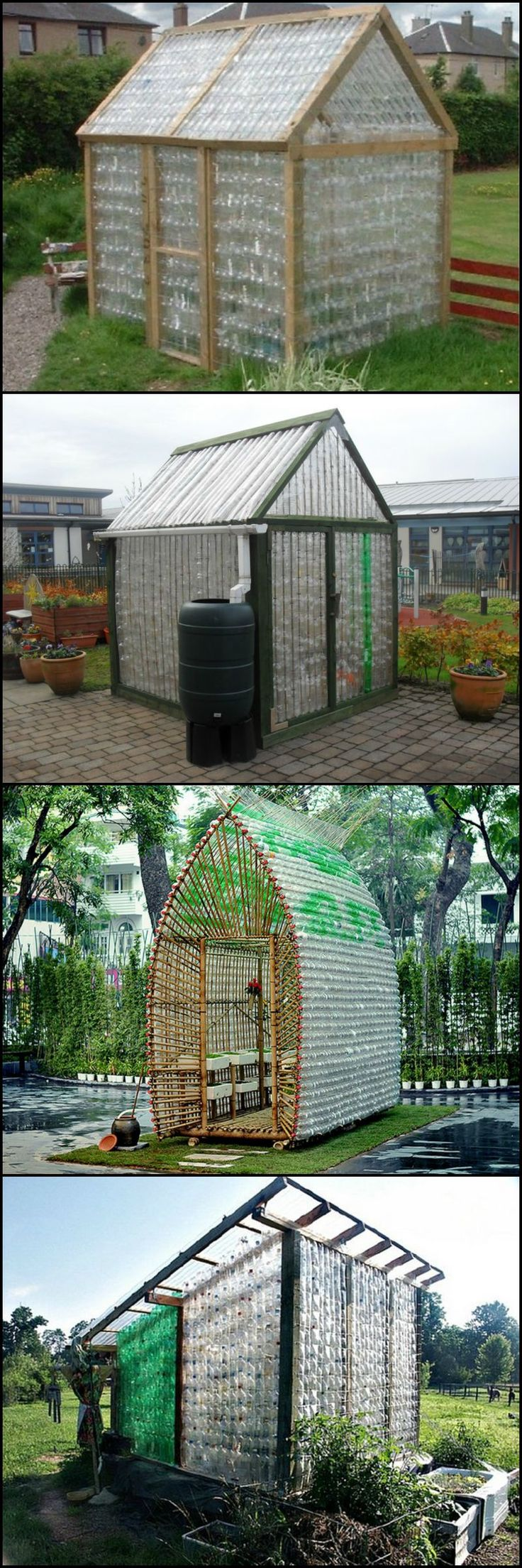Building out of recycled materials is a great way to save money and be kind to the environment. Stop throwing out all those PET bottles! Turn them into a glasshouse instead!  These many examples of greenhouses made from recycled plastic bottles show that the principle work http://theownerbuildernetwork.co/vrr1  We're starting to collect plastic bottles, how about you?