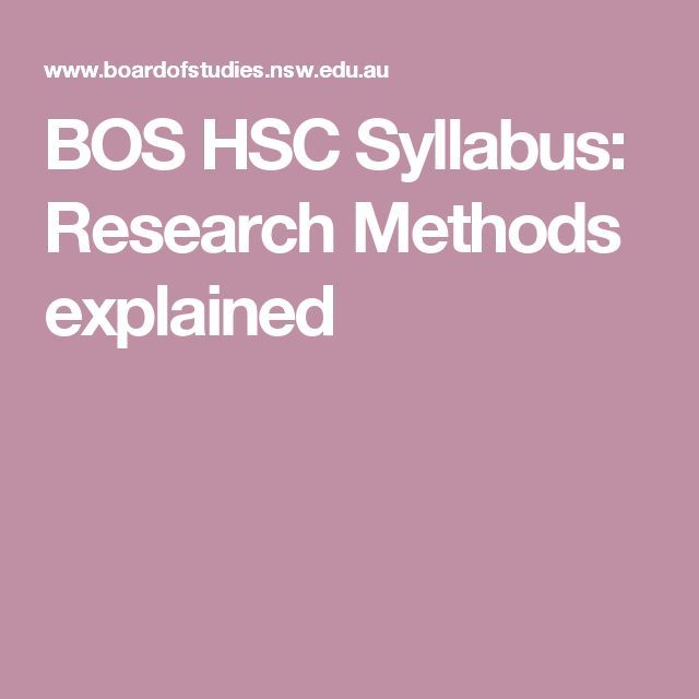 BOS HSC Syllabus: Research Methods explained