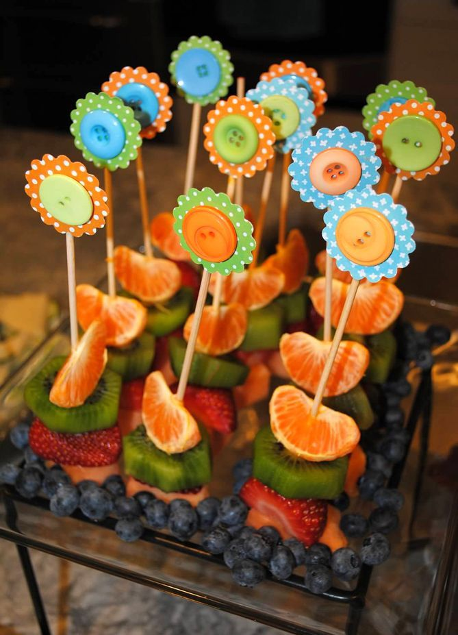 Cute baby shower food - like the idea of mini kabobs for fruit