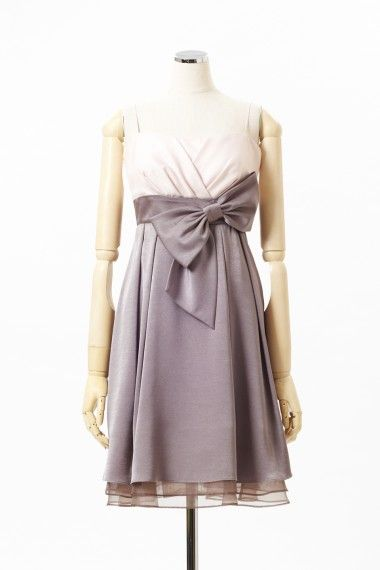 ウエストリボン配色ドレス