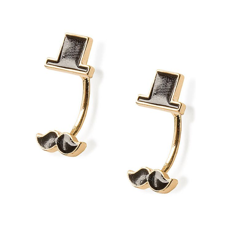 Black Top Hat and Mustache Front and Back Earrings | Claire's