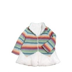 MISSONI - REVERSIBLE VISCOSE & WOOL PUFFER JACKET     Reversible with one side wool and one side nylon. Multi color zigzag wool knit panels. Pattern may vary slightly . Zip closure. A line. Padded filling. Made in Italy