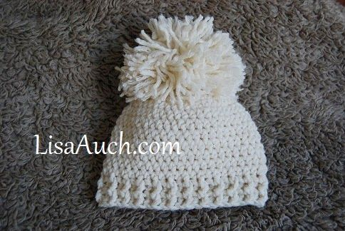 Crochet Baby Hat Pattern with Pom Pom and Ribbed edging
