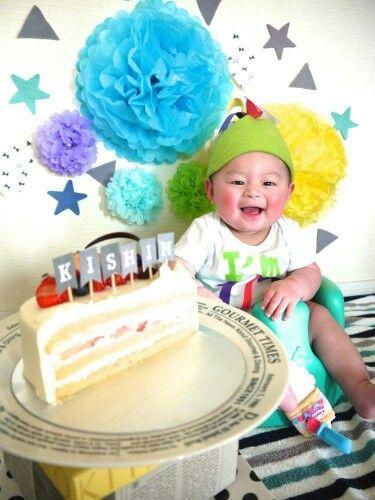 ハーフバースデー カラフルバージョン。ハーフケーキ、手作りフリース帽子でハッピーに♪♪halfbirthday