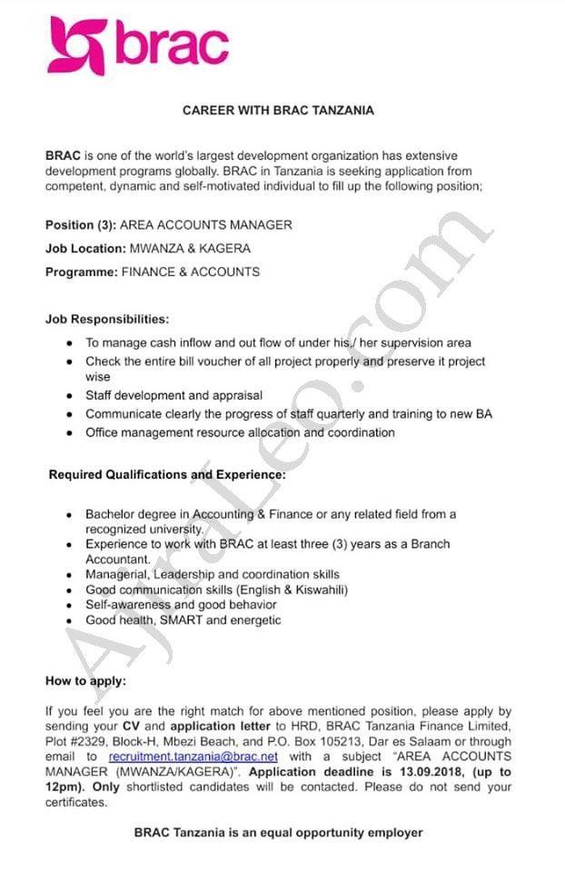 3 Job Opportunities Mwanza and Kagera at Brac Tanzania Deadline