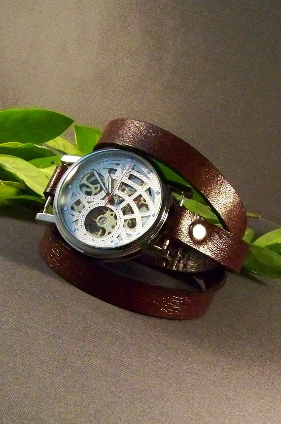 Leather Watch  Fashion Mechanical  by 4MLeatherDesign on Etsy, $80.00