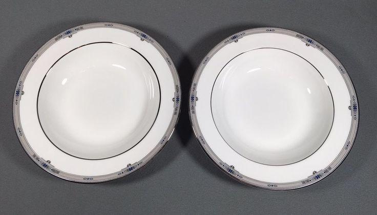 Two Wedgwood 8 Inch Cereal Bowls AMHERST Platinum Rim Bone China (b) #Wedgwood #amherst