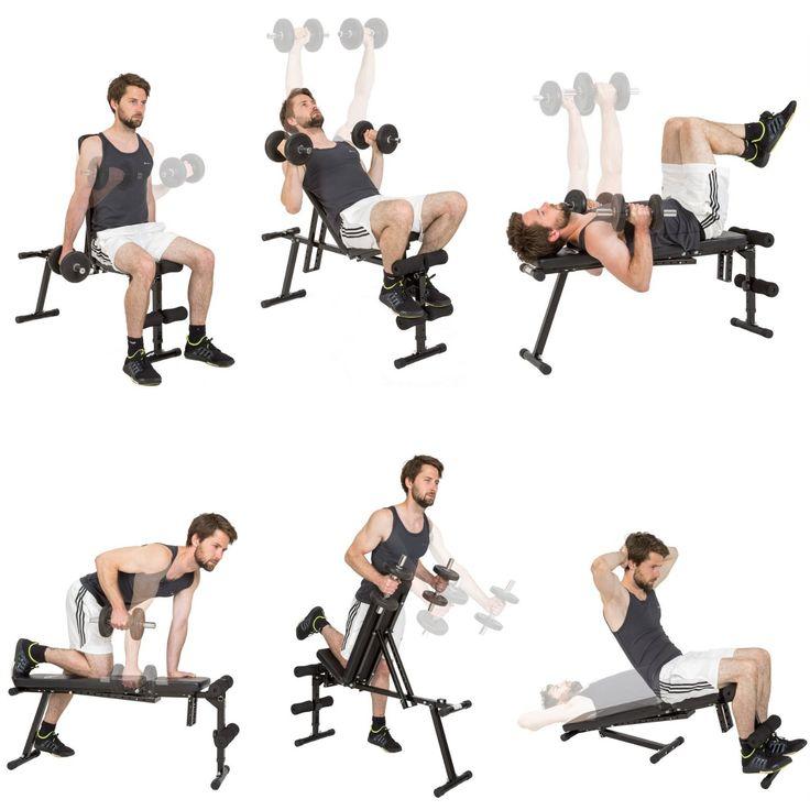 TecTake Banc de musculation universel banc à haltères exercices abdominaux…