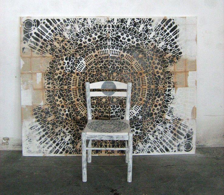 #circle #stencil #contemporaryart #art #mandala  spray paint on canvas 188cm x 140 cm