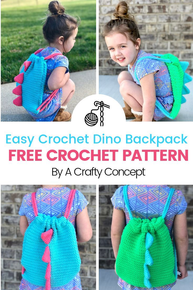 Easy Crochet Dinosaur Backpack Simple Free Pattern With Video Crochet Backpack Pattern Crochet Dinosaur Crochet Dinosaur Patterns