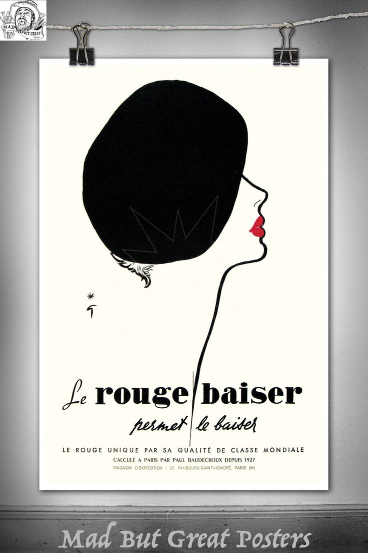 Rene Gruau - Lipstick Illustration Beret, poster, wall art, home decor, gift, fashion print, french antiques, vogue, art deco, fine print by MadButGreatPosters on Etsy