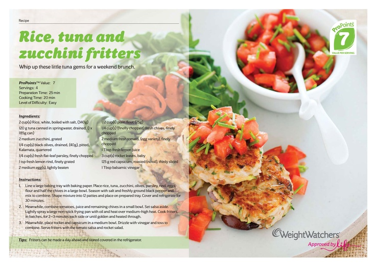 Rice, tuna and zucchini fritters