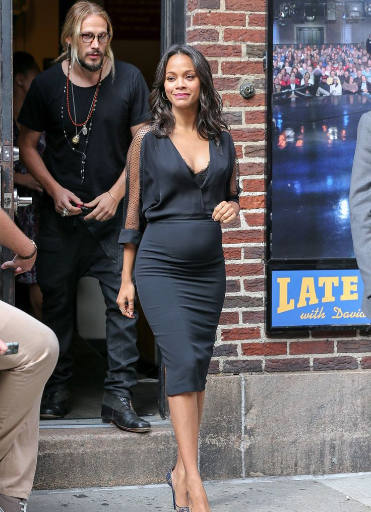 7/30/14- Zoe Saldana arriving to 'The Late Show with David Letterman' in NYC.