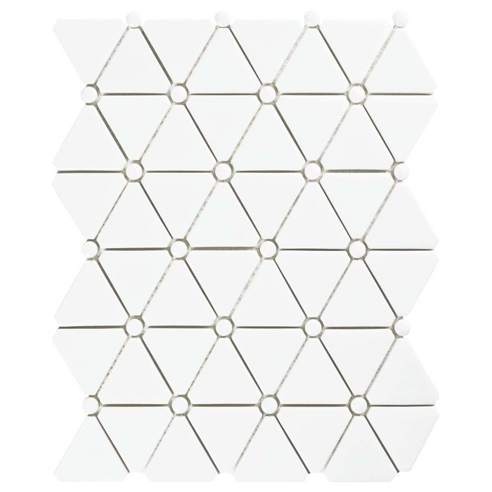 """Esamo 10.125"""" x 12.875"""" Glass Mosaic Tile in White offers a beautiful new life for old glass. This recycled silk white glass mosaic captures a geometric design with alternating triangles and button-shaped chips. Mixed glossy and matte finishes offer added definition and dimension. These mesh-mounted chips offer characteristics similar to unglazed porcelain, including frost resistance and water resistance. These durable tiles are great as an accent or field tile on most inter..."""