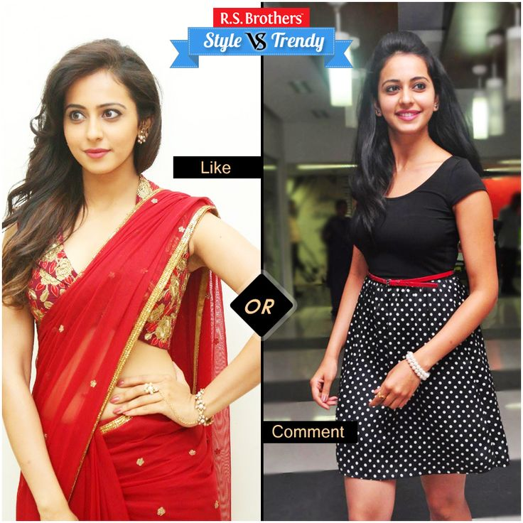 """#Style vs #Trendy  Gorgeous Beauty  #RakulPreethSingh in  Stylish Saree & in Trendy Western wear.  Which Outfit suits her & looks cool? Present your interest in """"Like"""" for Saree or """"Comment"""" for Dress….  (Image copyrights belong to their respective owners)"""