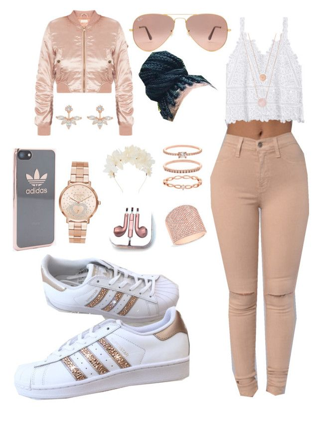 """Rose gold❤️"" by flawlessgirlty ❤ liked on Polyvore featuring adidas, Michael Kors, Anne Sisteron, Accessorize, Ray-Ban, PhunkeeTree and Lizzie Fortunato"