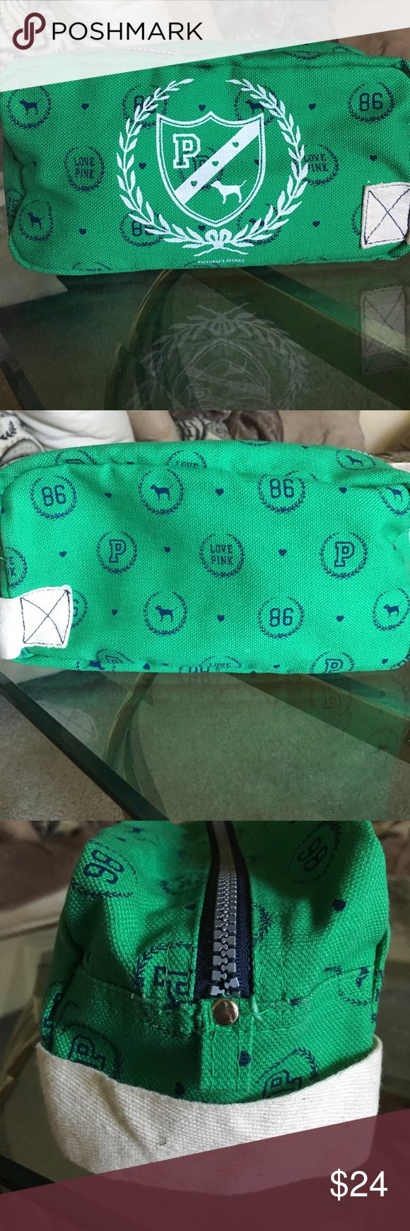 """NWOT VS PINK Campus Vintage Cosmetic Bag BRAND NEW. NEVER USED. Victoria Secret's PINK Vintage """"Campus"""" line green cosmetic case. Green canvas material, plenty of room and easy to fold. PINK Victoria's Secret Bags Cosmetic Bags & Cases"""