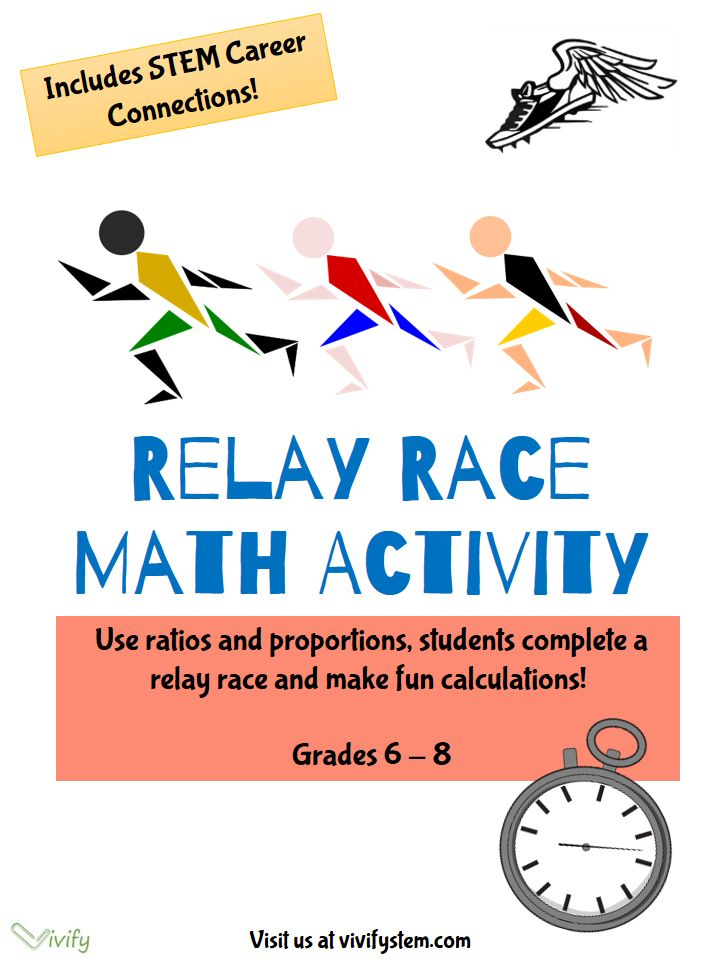 """Relay Race Math: Ratios  Proportions with STEM Career Connection. Students complete calculations for a set of relay race times then they hold their own race! Using common classroom items, they time the race and calculate various ratio problems such as """"keeping the same pace, how long would it take to run 3 miles?"""" Perfect for middle school math."""