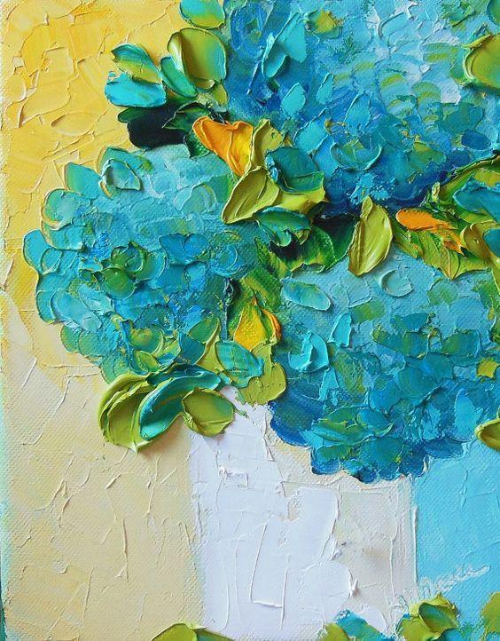 Oil painting Impasto Teal Hydrangeas still by IronsideImpastos, $55.00: