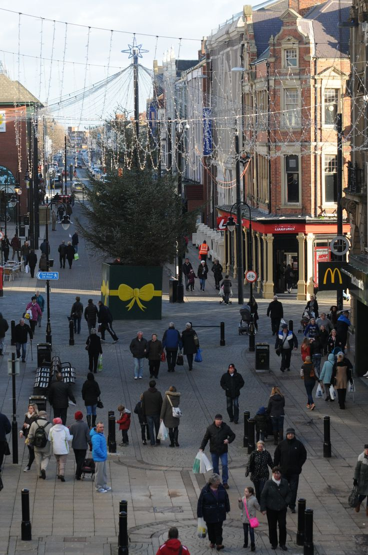King Street, South Shields filled with Christmas shoppers during December 2013.
