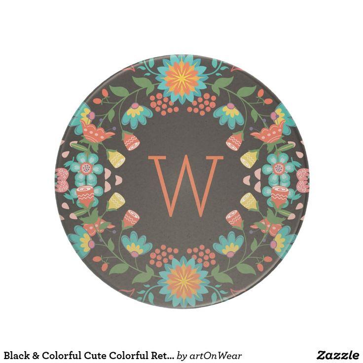 Black & Colorful Cute Colorful Retro Floral Wreath Coaster