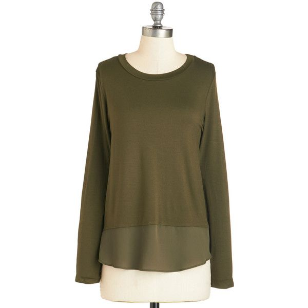 ModCloth Mid-length Long Sleeve Stylish Inspiration Top ($30) ❤ liked on Polyvore featuring tops, apparel, green, knit top, long sleeve knit, green chiffon top, brown long sleeve top, long sleeve tops, long sleeve chiffon top and green top