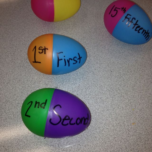 A good way to use up leftover eggs - ordinal numbers egg matching game.