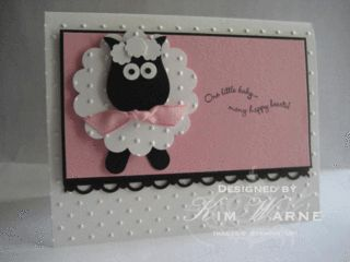 Cute Baby Lamb Card...made with scallop and owl punches - stampin up.