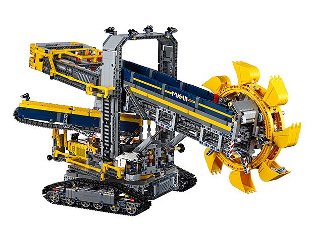 Lego Bucket Wheel Excavator -- With over 3,900 pieces, Lego's forthcoming Bucket Wheel Excavator is officially the largest Lego Technic set to date. Completed, it stands 16-inches tall & 18-inches long. It's got countless moving parts like a rotating bucket, working tank treads, & conveyor belts—even a motor.  And how cool is it that it can be rebuilt into an aggregate processing plant?