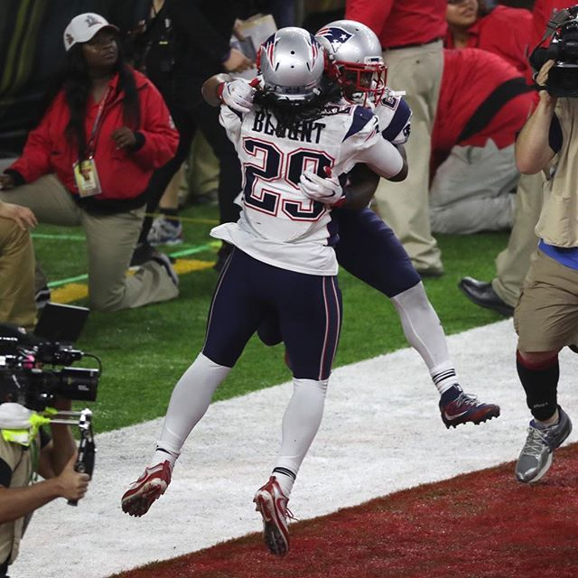 By Stan Grossfeld/Globe Staff -- @patriots LeGarrette Blount and James White celebrate after White's overtime game winning touchdown. #nfl #football #SuperBowl #SuperBowl51 #SuperBowlLI #Houston #patriots #patsnation