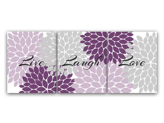 Home Decor Wall Art Live Laugh Love Purple Flower Burst Art Bathroom Decor Purple Grey Bedroom Decor - HOME70