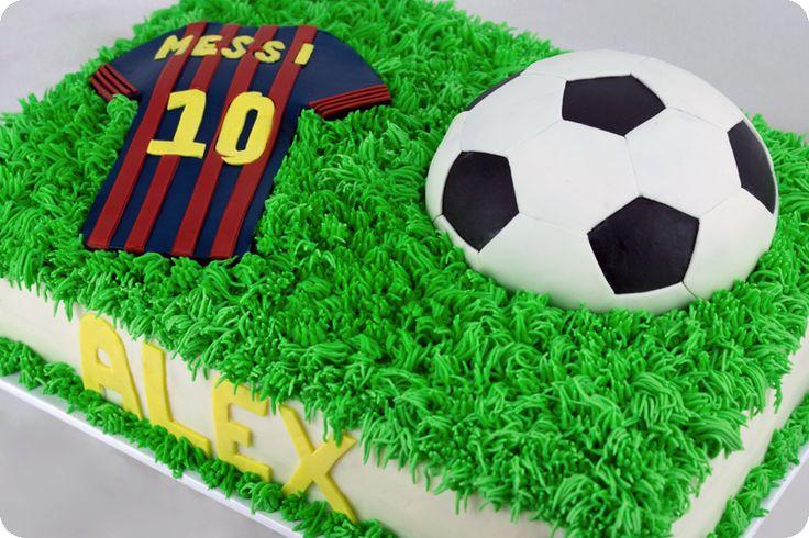 Soccer themed quarter sheet cake