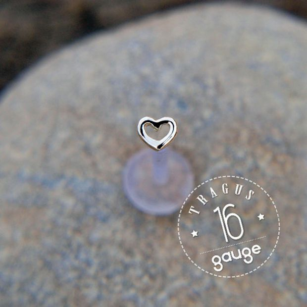 Tiny HEART 4mm TRAGUS  16 gauge / BioFlex/ Sterling silver/ tragus earring/labret stud/ heart tragus/ cartilage earring/ helix