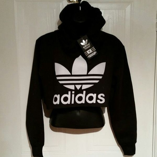 Unisex Customised Adidas Cropped Hoodie Jumper T Shirt Sz Medium Grunge Festival Fashion featuring polyvore, fashion, clothing, tops, black, t-shirts, women's clothing, checkered crop top, unisex tops, checkered top, crop top and black crop top