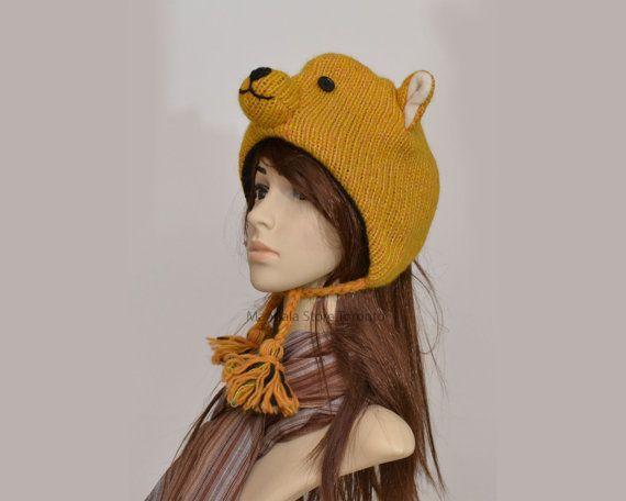 Teddy bear animal hat   warm hat  knit hat  by HatsMittensEtc