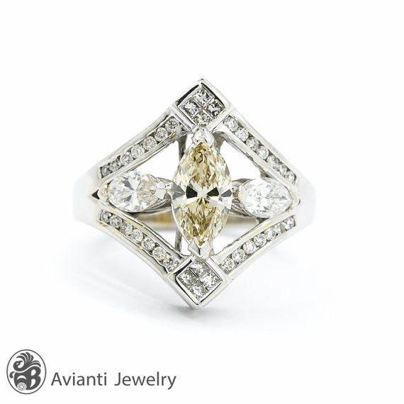 Marquise Cut Diamond Ring Champagne Diamond Ring  Diamond