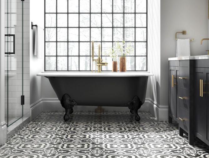 white bathroom floor black clawfoot tub