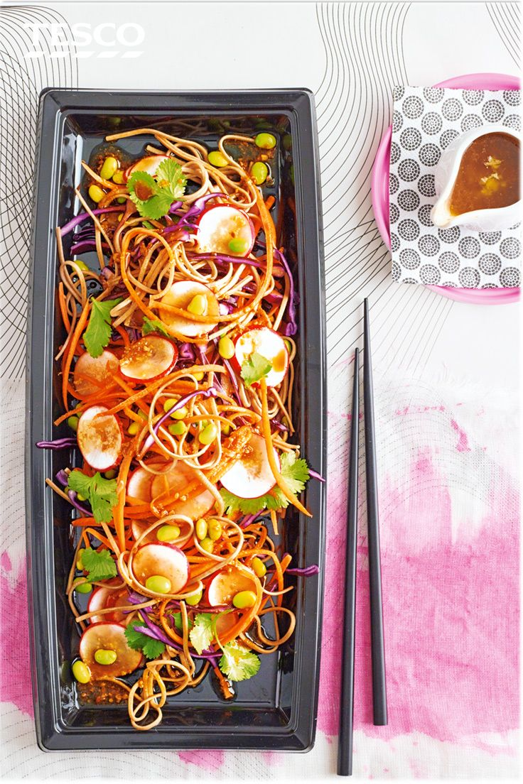 Spruce up your lunch box with this noodle salad recipe - not only is it suitable for vegetarian diets, but it is also healthy, packing 2 of your 5 a day. | Tesco