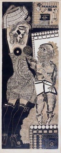 Berni, Antonio 1905 - 1981 Ramona y el viejo 1962 Xilo-collage-relieve sobre papel 175 x 70 cm