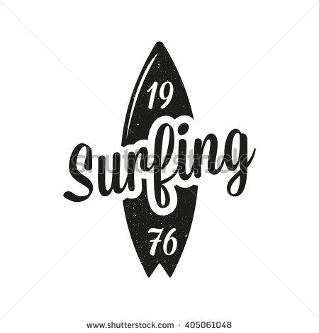 Vintage surfing emblem. Surf logo - stock vector                                                                                                                                                                                 More