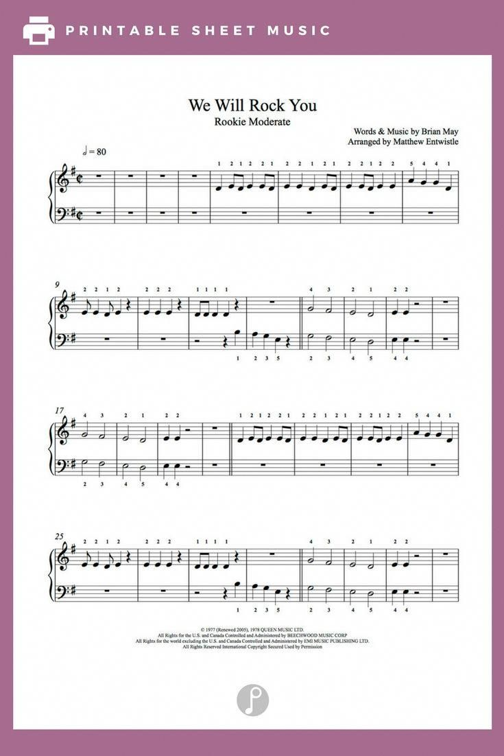 We Will Rock You By Queen Piano Sheet Music Rookie Level