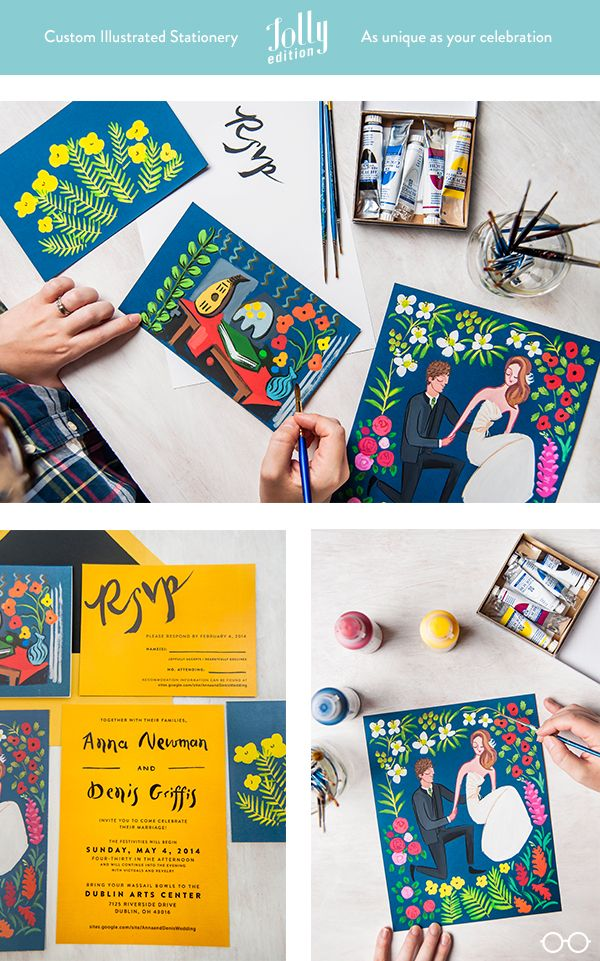 "#custom #wedding #stationery by @Jolly Edition. Includes: #Invitation #ThankYou #rsvp About the couple: "" Anna and Denis, a wonderful young Minnesotan couple asked us to produce their Matisse and Picasso–inspired illustration and stationery. So much fun!"" #America #illustrated #wedding #stationery"