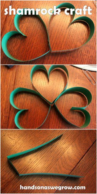 Shamrocks for St. Patrick's Day - make some out of hearts - fun and easy for the kids!