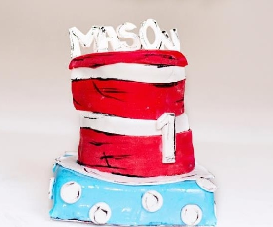 Dr.Seuss Cat in the Hat cake created by Sugared Moments Lead Desserts Designer.   Photography Credit: Oh Snap Photography.