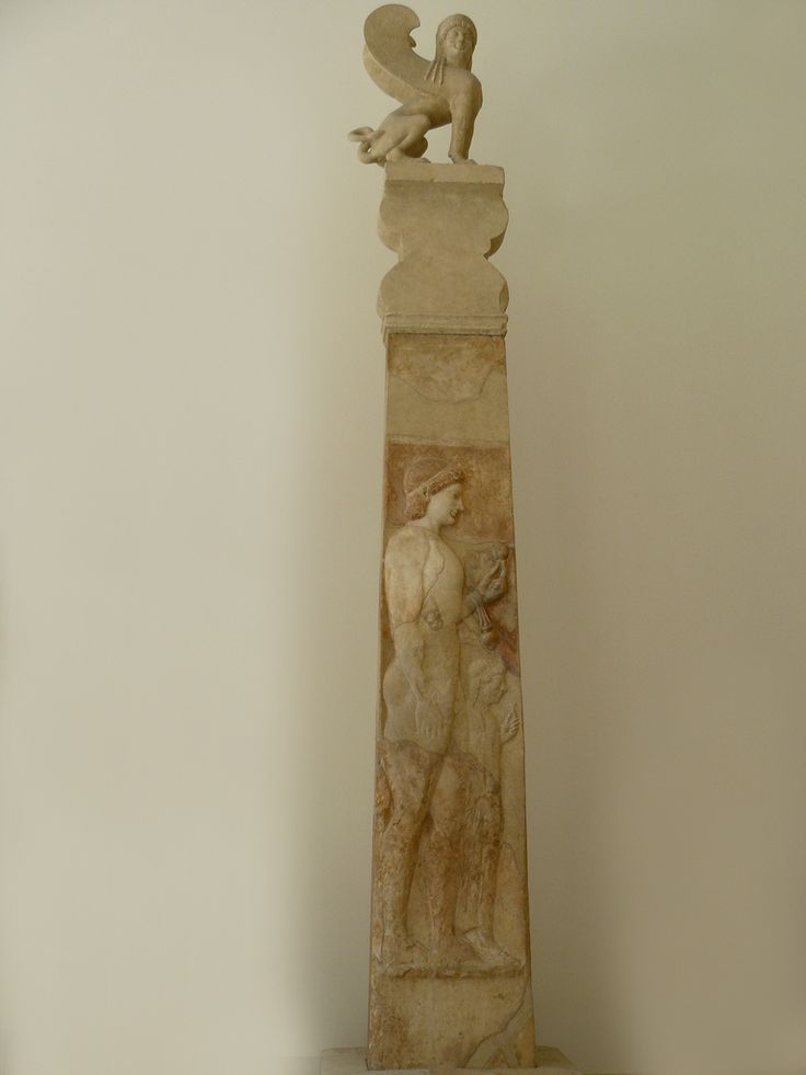 marble grave stele of a little girl Marble stele (grave marker) of a youth and little girl with capital and finial in the  form of a sphinx period: archaic date: ca 530 bc culture: greek, attic.