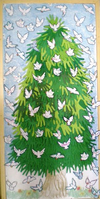 lovely pine tree surrounded by flying white doves