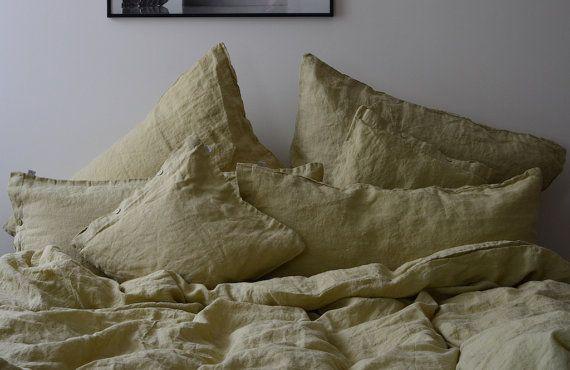 Green Natural Linen Bedding Set Stone Washed Duvet by ArtZimmer